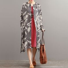 Autumn Ethnic Retro Print Long Sleeve Cardigan Cotton Linen Gray Jacket