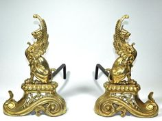 Hearty Pair Of Antique Wrought Iron Andirons In Shape Of Dogs Bright And Translucent In Appearance Home & Hearth