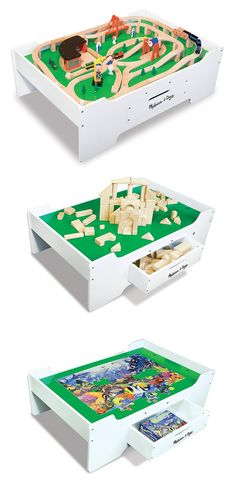 Multi-Activity Children's Table: A space-defining play area! This easy-to-assemble, sturdy wooden play table is ideal for trains, dollhouses, arts & crafts projects, blocks, puzzles and more! It also features a double-sided play board and jumbo-sized drawer for convenient storage! *Perfect for creative kids!