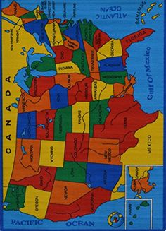 Rugs 4 Less Collection Educational USA Map Design Kids Area Rug 3'3''x4'10 Kids Area Rugs, Map Design, Kids Rooms, Education, Usa, Collection, Childs Bedroom, Kidsroom, Play Rooms