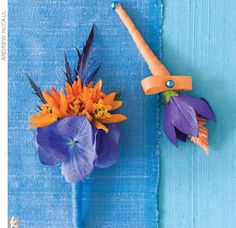 Spiky flowers give boutonnieres a more masculine feel.