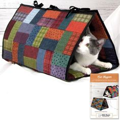 Sew your kitty a sweet retreat. This easy-to-sew mat folds into a triangular tunnel that's perfect for naps. This comfy mat can be laid flat, or secured into a triangle with ties or a zipper. Line with Insul-Bright for added insulation—this optional a Pet Beds, Dog Bed, Gato Gif, Cat Tunnel, Cat Accessories, Cat Furniture, Diy Stuffed Animals, Cat Toys, Animals And Pets