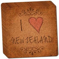 "Amazon.com: Custom & Cool {4"" Inches} Set Pack of 4 Square ""Grip Texture"" Drink Cup Coaster Made of Cork w/ Handwritten Script House Decor I Heart Love New Zealand Vintage Frill Design [Brown, Beige & Pink]: Home & Kitchen"
