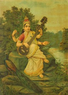 Sarasvati, Hindu goddess of knowledge, music, arts, and science. Consort of Brahma. Worshipped by artists, writers, and students taking examinations. One of my favorites.