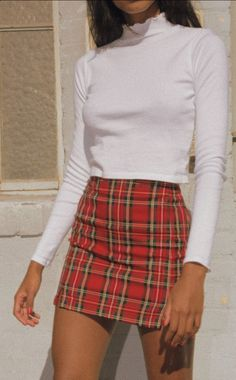 Sexy Red Plaid Package Hip Skirts Plaid skirt outfits ideas what to wear plaid skirts Red Skirt Outfits, Plaid Outfits, Red Skirts, Plaid Skirts, Mode Outfits, Trendy Outfits, Fall Outfits, Mini Skirts, Fashion Outfits