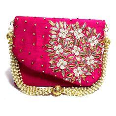 Indian Handmade Wedding Valentine Party Evening Hot Pink Clutch Purse Wristlet #Handmade #Clutch