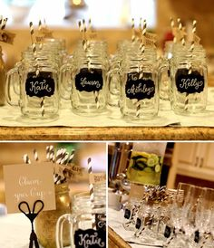 """Chalkboard name tags on mason jars awaited the baby shower guests next to a """"Claim your Cup"""" sign - cute!"""