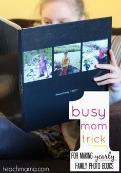 Kids love looking at old photos and photo books but it can be time consuming to accomplish. Try this busy mom trick for making yearly photo books! #teachmama #yearbook #familyyearbook #photos #familyphotos #momtips #momhack