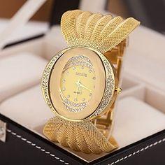 Mulheres+Relógio+de+Moda+Quartz+Lega+Banda+Brilhante+Prata+/+Marrom+/+Dourada+marca-+–+BRL+R$+37,15