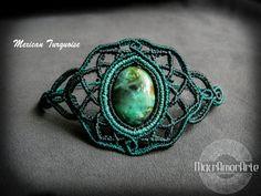NEW Mexican Turquoise Macrame bracelet. Flower of by MacrAmorArt