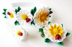 Kanzashi fabric flowers   Daysies  set of 3 pieces white by JuLVa, $22.00