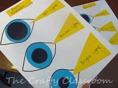 This is a little craft to teach students how eyes adjust to different levels of lighting. It is very simple and easy to do, but the craft itself is another resource for the child to study from, as well as learn if they are a tactile learner. I would use it in my classroom as a little break from textbook learning to get the students active. -Colleen Feld