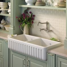 ROHL - Shaws Original 2-Bowl Fireclay Fluted Apron Kitchen Sink traditional kitchen sinks #EasyNip