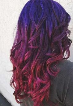 Red Ombre Hair, Red Hair Color, Cool Hair Color, Purple Ombre, Color Red, Galaxy Hair Color, Blue Purple Hair, Ombre Colour, Violet Ombre