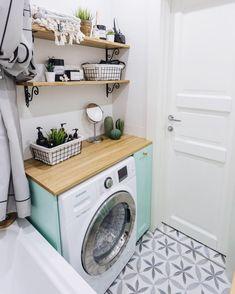 Tanya Berestova on I Nautical Bathroom Decor, Modern Bathroom Decor, Bathroom Interior, Small Bathroom, Outdoor Laundry Rooms, Laundry Room Rugs, Laundry Room Design, Basement Laundry, Laundry Room Pictures