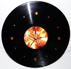 JUDAS PRIEST Vinyl Record Wall Clock Orange by PandorasRecordArt, $25.00