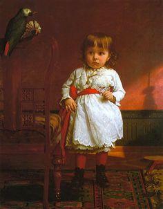 The Parrot Caught the Birdie, Seymour Joseph Guy (1824 - 1910, English-born American), I AM A CHILD-children in art history-blog