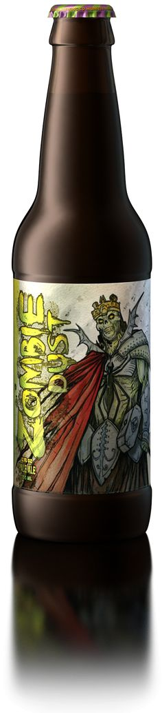 3 Floyds Brewing Co. Zombie Dust: This intensely hopped and gushing undead Pale Ale will be one's only respite after the zombie apocalypse. Created with our marvelous friends in the comic industry. Style: Pale Ale IBU 50 ABV 6.2%