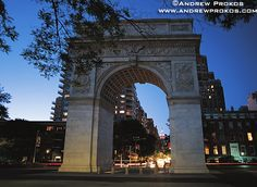 Washington Square Arch, New York City.  Scripted with ...let us raise a standard to which the wise and the honest can repair. the event is in the hand of god. Washington. We are born with wills that provide our own unique choice in the matter engine.