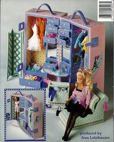 Fashion Doll Dressing Room Plastic Canvas Pattern American School of Needlework 3093.