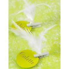 Plume blanche avec perle sur pince en bois les 6, décoration, marque place, déco de table, déco festive, mariage, wedding, rouge, fête, noël