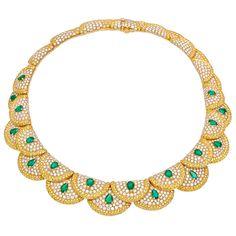Estate Van Cleef & Arpels Diamond Collar Necklace with Emerald