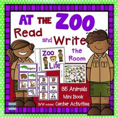 Zoo Animals Read and Write the Room includes literacy center activities for grades K-2. 35 different images. Use 10. Use 20. Use them all! Print on card stock and laminate for durability. This is a must have for primary classrooms! VOCABULARY WORDS INCLUDED: