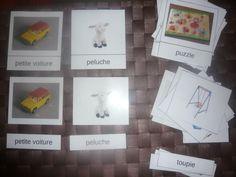 Cartes de nomenclature jeux et jouets, instruments de musique, la salle de bains.