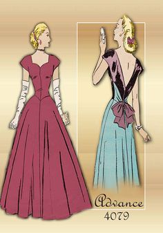 1940s Advance 4079 Vintage Sewing Pattern Elegant Evening Gown Sweetheart Neckline Factory Folds Bust 34