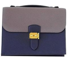 Guaranteed authentic very rare HERMES Sac a Depeche 27 Horseshoe Horizons Limited Edition.Rich Blue Nuit...