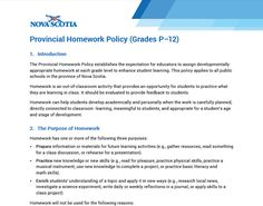 Nova Scotia's Action Plan for Education No Homework Policy, The Province, Nova Scotia, Classroom Activities, Student Learning, Early Childhood, How To Apply, Action, How To Plan