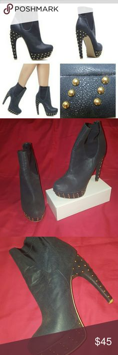 Gently used stud ankle boot Navy blue gently used gold stud ankle boot size 11 Shoes Ankle Boots & Booties