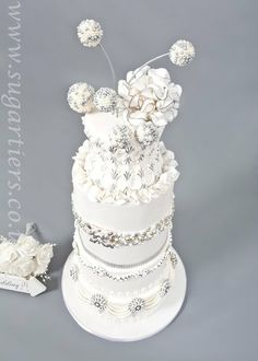 Silver and  White Jeweled wedding cake  ~ all edible