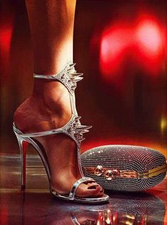 » Christian Louboutin 'Lady Max 100mm' Silver-spike stiletto sandal, Spring 2012 Collection. >> More Christian Louboutin heels here.