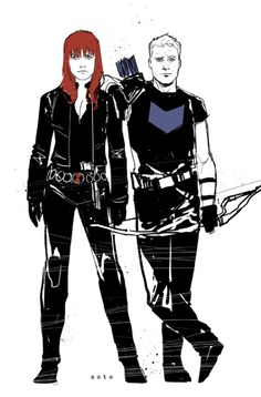 Natasha and Clint Black Widow and Hawkeye by Phil Noto
