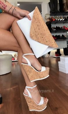Sexy high wedges with cork sole and white ankle strap Dream Shoes, Crazy Shoes, Me Too Shoes, Hot Shoes, Wedge Shoes, Shoes Heels, Women's Pumps, Wedge Sandals, Pretty Shoes