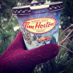 Tim Hortons coffee cup, with their winter design.
