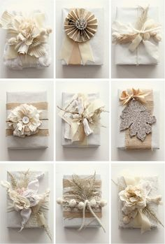Really pretty packaging and wrapping for a wedding gift or for Christmas. Neutral.