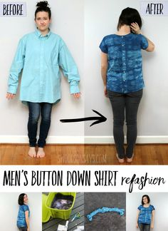Check out this fresh mens button down shirt refashion! Flipping the buttons to the back and adding some indigo tie dye totally changed the look,. Trash To Couture, Easy Sewing Projects, Sewing Hacks, Sewing Tips, Sewing Ideas, Sewing Men, Learn Sewing, Shirt Refashion, Clothes Refashion