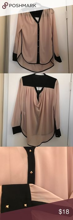 Dusty rose UNIQ blouse from Nasty Gal High low dusty rose blouse. Black piping details with gold buttons. Peekaboo opening in the back. Brand new, never worn. Nasty Gal Tops Blouses