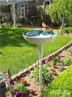 How to Make a Serving Bowl Birdbath for $5