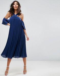 f479790c6e LOVE this from ASOS! Navy Blue Midi Dress
