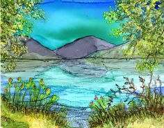 Original alcohol ink painting on 8x10 yupo -matted with a white 11x14 mat. Lake landscape Alcohol Inks are a bright-luminous-colorful medium.