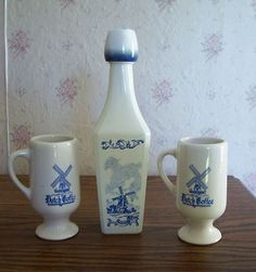 Vintage VANDERMINT Dutch Delft Blue Coffee Mugs With Empty Decanter Windmill