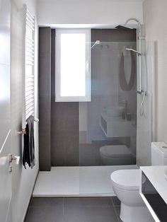 Bathroom renovation - Home Decor Narrow Bathroom, Bathroom Design Small, Grey Bathrooms, Bathroom Renos, Bathroom Layout, Bathroom Colors, Bathroom Interior Design, White Bathroom, Modern Bathroom