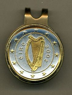 Gorgeous 2-Toned Gold on Silver Ireland Harp - Coin - Golf Ball Marker - Hat Clips