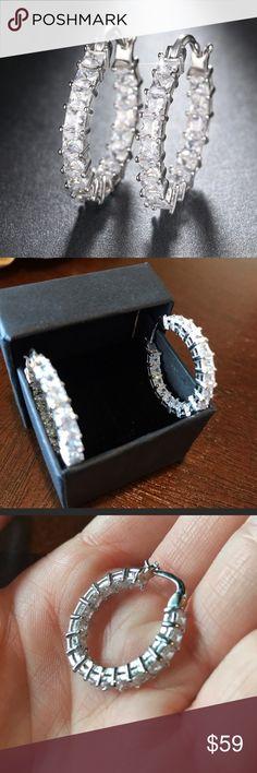 New hoop CZ diamond earrings. Beautiful CZ diamond hoop earrings. Perfect for wedding anniversary or birthday gift. Jewelry Rings