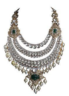 Jaipur jeweller Birdhichand ~ Pearl, Polki, Emerald and Diamond-Studded Necklace from the Amér Collection Bridal Jewellery Inspiration, Jewelry Art, Wedding Jewelry, Antique Jewelry, Jewelry Design, Pakistani Jewelry, Bollywood Jewelry, Indian Jewelry, International Jewelry