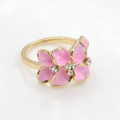 #Zinc #Alloy #Finger #Ring, Flower,with #Rhinestone, More Colors.
