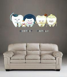 kcik513 Full Color Wall decal Teeth Family Dentist dental surgery hospital clinic